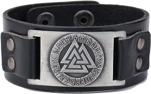 Wicca Bracelet en cuir motif rune de l'amulette religieuse de la mythologie nordique Valknut des Vikings de 24''