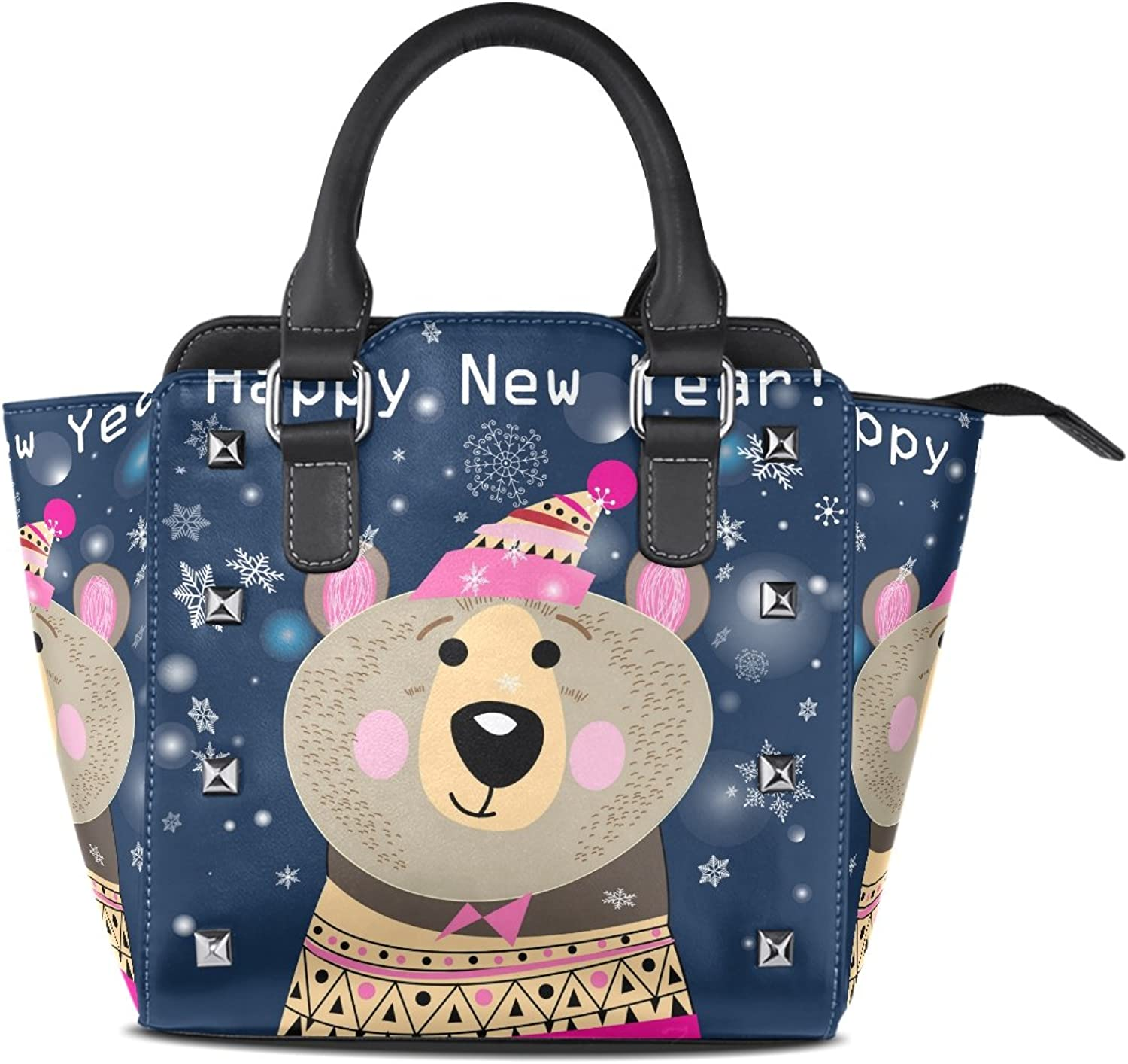 My Little Nest Women's Top Handle Satchel Handbag Happy New Year Bear Snowflake Ladies PU Leather Shoulder Bag Crossbody Bag