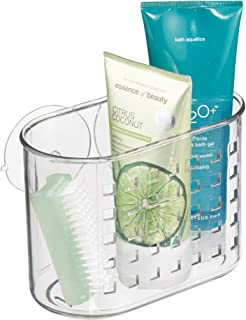 iDesign Plastic Suction Shower Caddy Basket for Shampoo, Conditioner, Soap, Creams, Towels, Razors, Loofahs in Master, Guest, Kid's Bathroom, 7.25