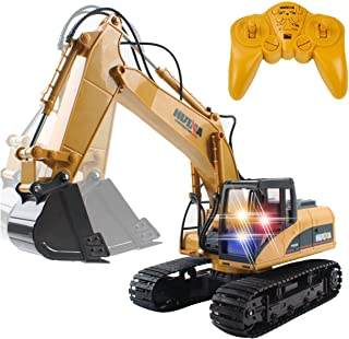Remote Control Excavator,15 Channel Full Functional RC Excavator Toy Construction Tractor with Metal Shovel and Caterpillar