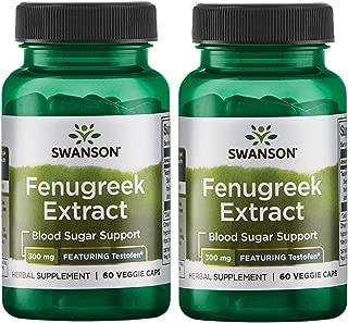 Swanson Fenugreek Extract - Featuring Testofen 300 mg 60 Veg Caps 2 Pack