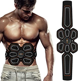 BLUE LOVE ABS Stimulator Muscle Toner Abdominal Toning Belt Workouts Portable EMS Training Home Office Fitness Equipment for Abdomen/Arm/Leg Training(USB Charging)