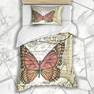 Ahawoso Duvet Cover Sets Twin 68x86 Table Eiffel Top Cup Blue Sketching Paper Butterfly Stamp Memory Landmarks Textures Office Pencil Soft Microfiber Decorative Bedroom with 1 Pillow Shams