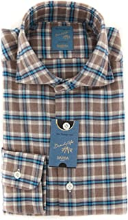 Barba Napoli Plaid Button Down Cutaway Collar Cotton Extra Slim Fit Dress Shirt