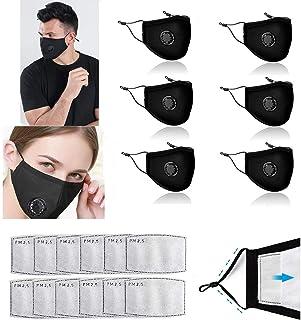 Freefa 6pezzi Bandane facciali lavabili in Italia regolabili con valvola respiratoria e 12pezzi filtri a carbone attivo a ...