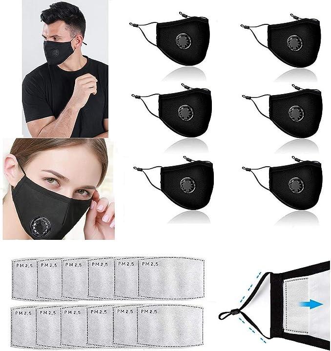 Mascherina con valvola respiratoria e 12pezzi filtri a carbone attivo a cinque strati sostituibili freefa 6pz Decyam Face