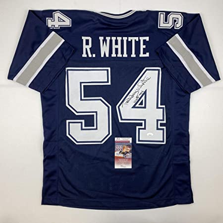 Autographed/Signed Randy White HOF 94 Dallas Blue Football Jersey JSA COA