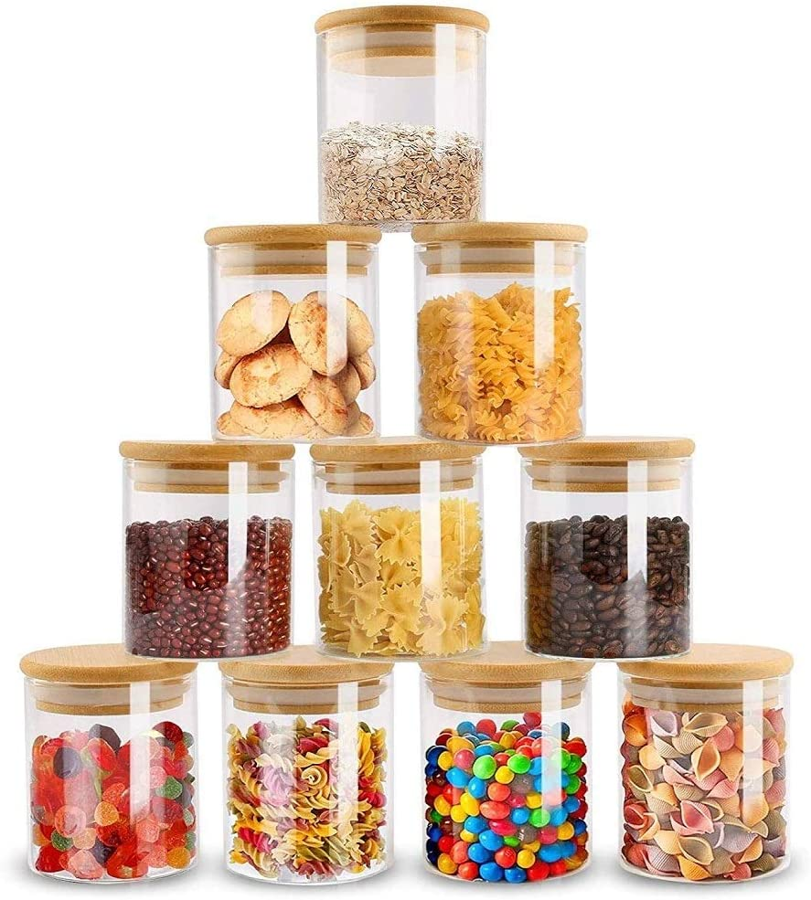 ZPGXLRZ 10 Piece Glass Cheap bargain Storage excellence Jars Airtight with Bamboo Set Lid