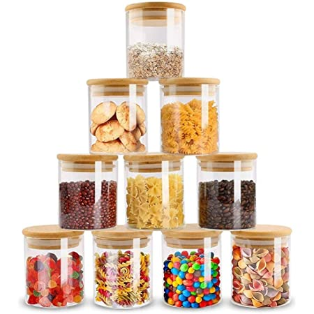 12 Pcs Glass Square Spice Jar Airtight Container Kitchen Storage Herbs Food Salt