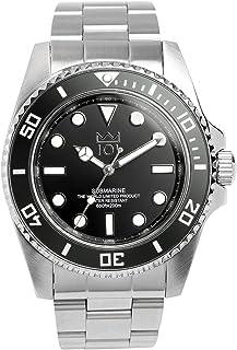 [HYAKUICHI 101] ダイバーズウォッチ スイープセコンド 200m防水 逆回転防止ベゼル 腕時計 メンズ (ブラック)