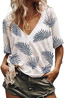 AlvaQ Women Summer V Neck Leaf Print Short Sleeve Shirts Casual Tops Blouses