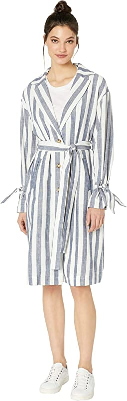 Striped Shirtdress with Cuff Ties