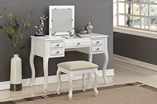 Poundex F4148 Bobkona Cailyn Flip Up Mirror vanity Set with Stool in White