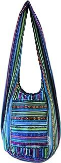 Sasahune Hippie Crossbody Bag Thai Top Zip Hobo Sling Bag Handmade Hipster Messenger Bag With lining Zipper in 2 pockets