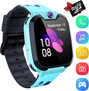 YENISEY Kids Smartwatch Music Player - 1.54 inch HD Touchscreen, HD Camera Two-Way Call SOS Anti-Lost Calculator, Wristband Games Watches Digital Wrist Watch for Boy Girl[1GB SD Card Included]