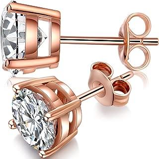 Stud Earrings Sterling Silver Round Cut Cubic Zirconia Stud Earrings