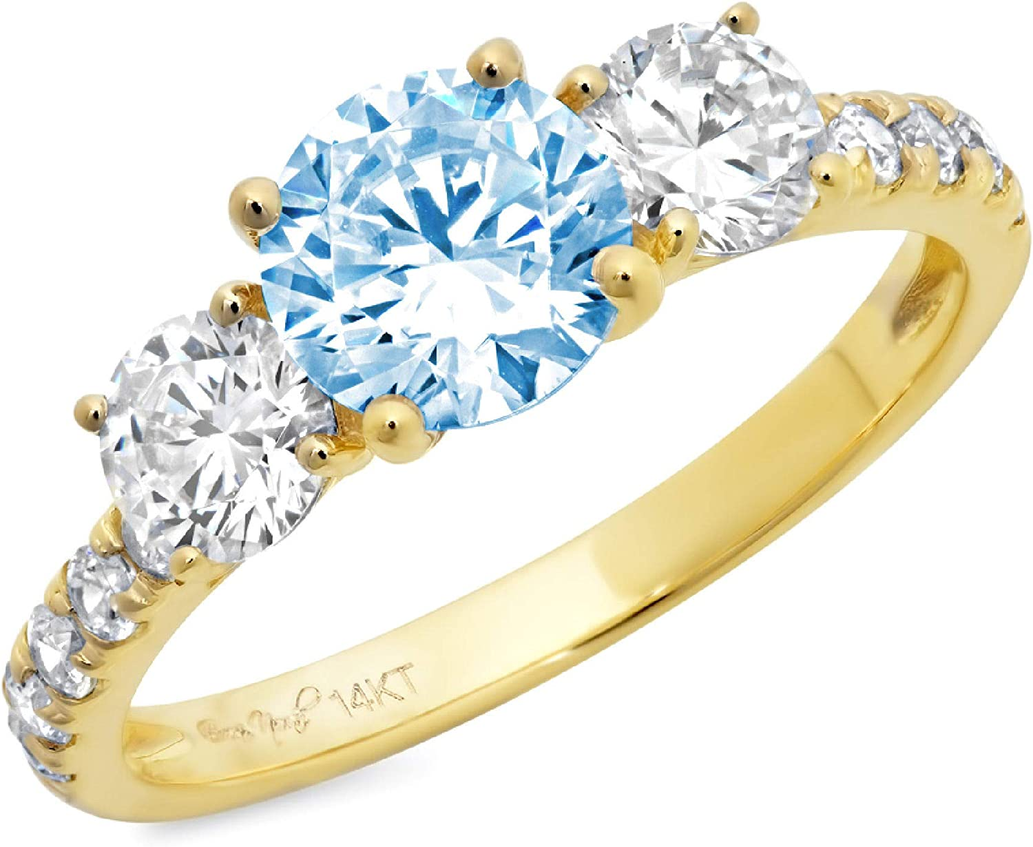 1.94ct Round Cut Solitaire 3 stone With Accent Natural Swiss Blue Topaz Gemstone Ideal VVS1 Engagement Promise Statement Anniversary Bridal Wedding ring 14k Yellow Gold
