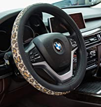 Crystal Diamond Steering Wheel Cover, PU Leather with Colorful Leopard Bling Bling Rhinestones, Universal 15inch / 38cm fo...