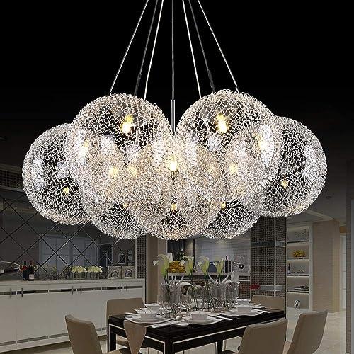 Boule moderne verre aluminium pendentif luminaire bricolage maison déco salon G4 lampe pendentif ampoule LED, blanc chaud Dimmable, simple   2200
