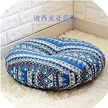 Mo Duo Linen Round Floor Cushions Meditation Cushion Large Flat Pads Japanese Futon Removable and Washable,156641 Bonia Blue,Diameter 40cm