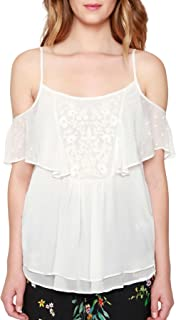 Willow & Clay Embroidered Cold Shoulder Tank Top Blouse Ivory Women's Medium M