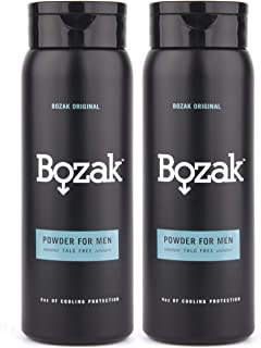 Bozak Cooling Body and Foot Powder for Men � Talc Free, Antifungal, Jock Itch Defense, Deodorant, Stops Chafing, Absorbs Sweat, and Keeps Skin Dry � with Menthol (4 oz.) � 2 Pack