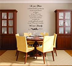 Design with Vinyl RAD 851 3 in Our Home We Thank God for Our Blessings Give Seconds Chances Forgive Say I'm Sorry Encourage One Another Give Hugs & Kisses Quote Wall Decal, Black, 20 x 30