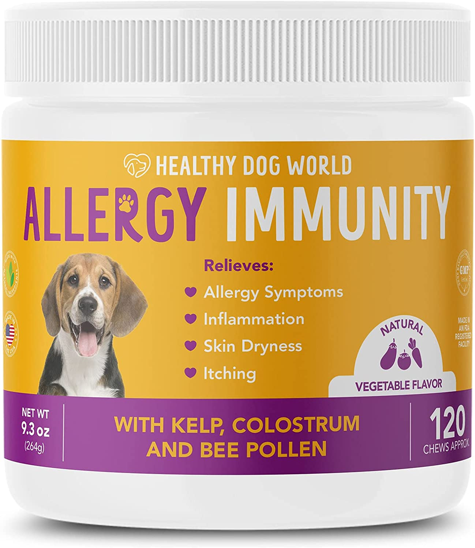 Healthy Dog World Allergy Immune Supplement for Dogs- Kelp, Colostrum, Bee Pollen- Seasonal Allergies, Food Allergy - Anti Itch, Vegetable Flavor, 120ct. : Pet Supplies