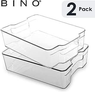 BINO Stackable Plastic Organizer Storage Bins, Large - 2 Pack - Pantry Organization and Storage Refrigerator Organizer Bins Fridge Organizer Freezer Organizer Pantry Organizer Pantry Storage