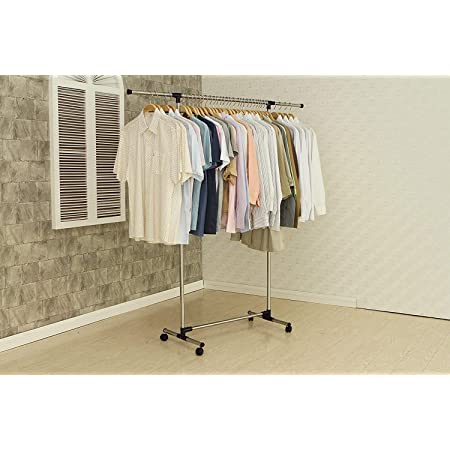 Ravizaa Stainless Steel Single Pole Telescopic Movable Portable Adjustable Clothes, Garment Hanging Rack Stand with Wheels-1.