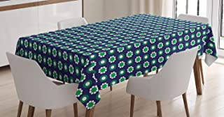 """Ambesonne Navy Blue Tablecloth, Floral and Point Design with Green Round Abstract Pattern Print, Dining Room Kitchen Rectangular Table Cover, 60"""" X 84"""", White Green"""