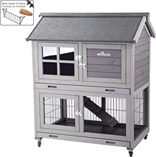 Aivituvin Rabbit Hutch Outdoor Bunny Cage Indoor with Run, Large Rabbit House with Two Deeper Tray - 4 Casters