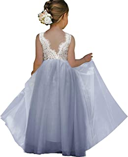 Girl Toddler Full-length straight tulle tutu Lace Back Party Flower girl dress