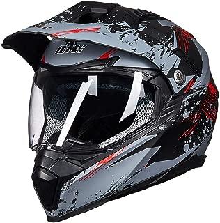 ILM Off Road Motorcycle Dual Sport Helmet Full Face Sun Visor Dirt Bike ATV Motocross DOT Approved (XL, Grey-Red)