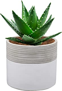 Brief Succulent Pots, 5 inch Diameter, 1 Pack Modern Cement Cactus Flower Aloe Snake Plant Planter Container with Drainage Hole, White(P001)