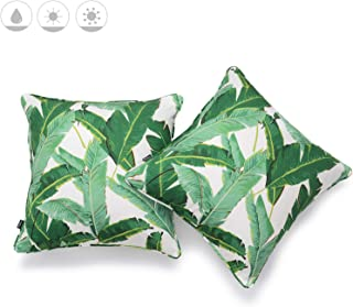 Hofdeco Outdoor Patio Decorative Throw Pillow Cover ONLY Weather Water Resistant Canvas Jungle Greenery Tropical Banana Leaf 18