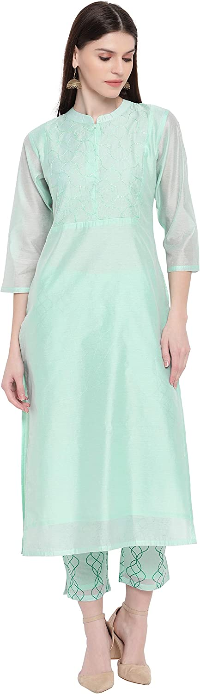 Janasya free Women's Light Green Poly Inventory cleanup selling sale Pant with Kurta Chanderi