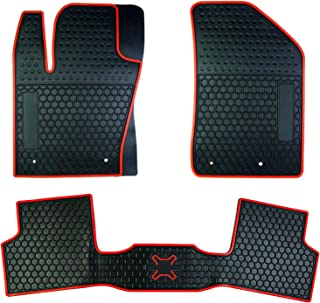 biosp Car Floor Mats for Jeep Renegade 2015 2016 2017 2018 2019 Front And Rear Heavy Duty Rubber Liner Set Black Red Vehicle Carpet Custom Fit-All Weather Guard Odorless