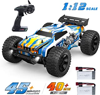 Holyton Remote Control Car 1:12 Scale RC Cars 45 KM/H High Speed for Adults and Kids, 4WD Driving 2.4GHz Off Road Monster Truck Waterproof Vehicle, Toys Gifts for Boys 2 Batteries 40min Play