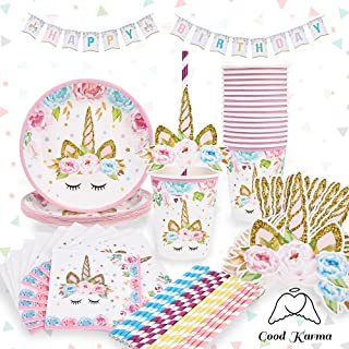 Magical Unicorn Party Supplies Set Plus Bonus Happy Birthday Banner for 16 People - Girls' Unicorn Birthday Party Supplies - Unicorn Party - Unicorn Party Decorations - by Good Karma Party Supplies