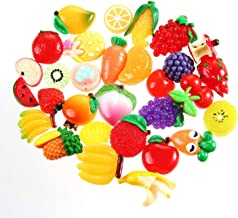Aolvo Cheap Slime Charms 30 PCS Decoden Cabochons Cute Resin Flatback Buttons Mixed Fruit Vegetable Pineapple Peach Apple Peach Banana Cherry Carrot for DIY Craft Making Scrapbooking Phone Case