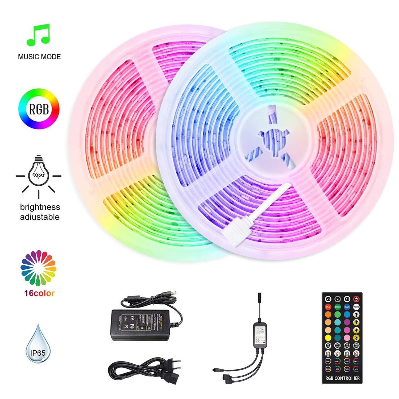 HoMii LED Strip 10m - Sincronización de tiras LED RGB con música, IP65 a prueba de agua 300 LED 5050 SMD tira de LED de cambio de color, control remoto de 40