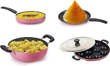 Sjeware Big Size Cookware Set Non Stick Flat Tawa Non Stick 28. 5 cm Frying Pan Non Stick 24 cm Kadai Non Stick Combo Offer 2