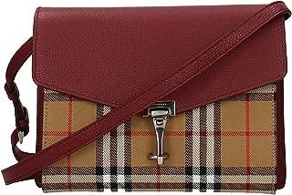 Small Vintage and Check Crossbody Bag- Crimson