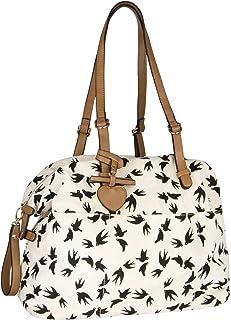 SIX Damen Handtasche, Henkeltasche aus Baumwolle in beige mit Vogelprint, Verschluss mit goldenen Details (726-722)