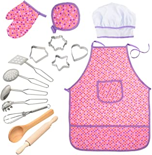 Acekid Chef Set for Kids, Girls Waterproof Apron Set, 15 pcs Chef Costume for Children with Chef Hat, Cooking Mitt and Cookie Cutters, Idea for Baking, Painting and Gardening (Purple)
