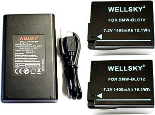 [WELLSKY] Panasonic パナソニック 互換バッテリー DMW-BLC12 2個 & デュアル USB 急速 互換充電器 バッテリーチャージャー DMW-BTC6 DMW-BTC12 1個 [ 3点セット ] [ 純正品と同じよう使用可能・残量表示可能 ] LUMIX ルミックス DMC-GH2 / DMC-G6 / DMC-G7 / DMC-G5 / DMC-G8 / DC-G99 / DMC-FZ200 / DMW-FZ300 / DMC-FZ1000 / DMC-GX8 / DMC-FZH1 / DC-FZ1000M2 / DC-FZ1000 II