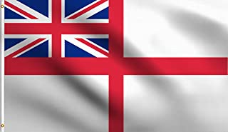 DMSE British Navy Royal Ensign White Historical Flag 3X5 Ft Foot 100% Polyester 100D Flag UV Resistant (3' X 5' Ft Foot)
