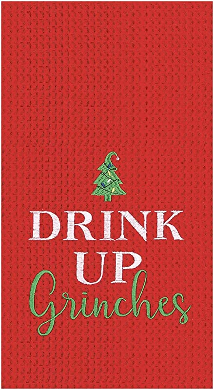 CFF Drink Up Grinches Red Christmas Holiday Waffle Weave Kitchen Dish Towel