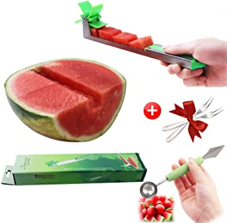 Watermelon Windmill Cutter Kit - Stainless Steel Watermelon Slicer with Melon Baller Scoop Extra, 2 Pieces Forks FDA Approved & BPA Free